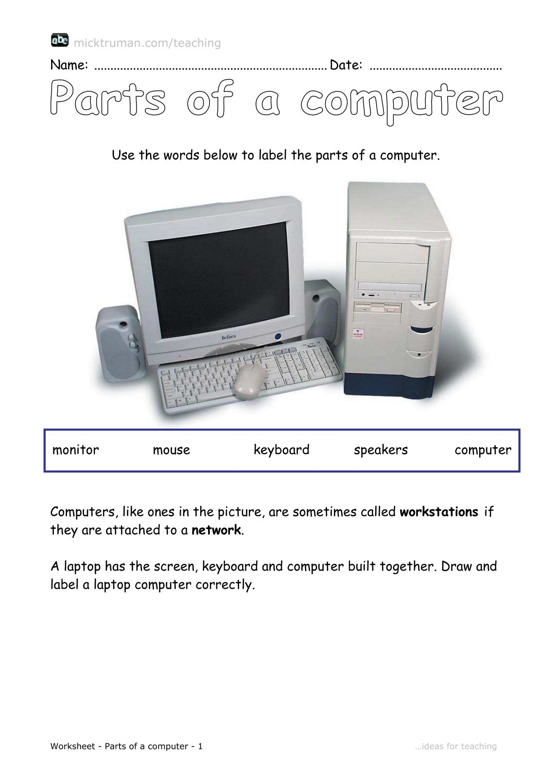 Label The Parts Of A Computer Worksheet – Parts of a Computer Worksheet