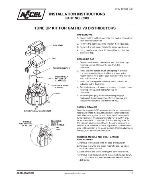 ACCEL GM HEI Distributor Tune Up Kit Instructions Part# 8200