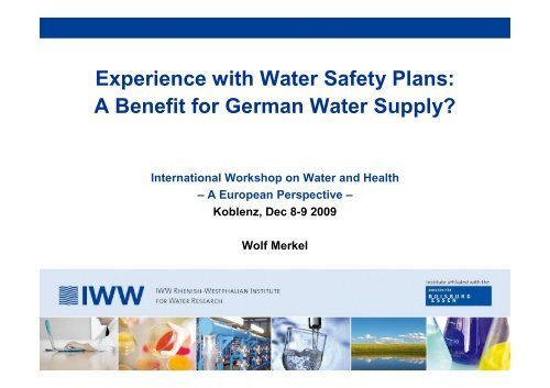 Experience with Water Safety Plans A Benefit for - Hydrologynl