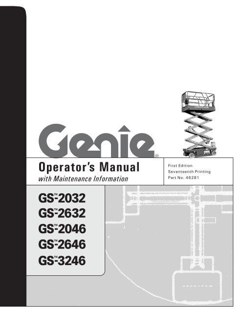 Genie 2632 Scissor Lift Manual - Description Of The Lift