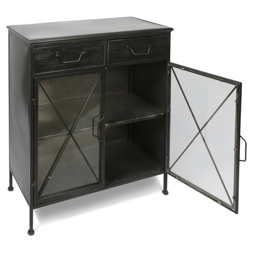 Industrial Metal Glass Sideboard Temple Webster - Sideboard Industrial Metall
