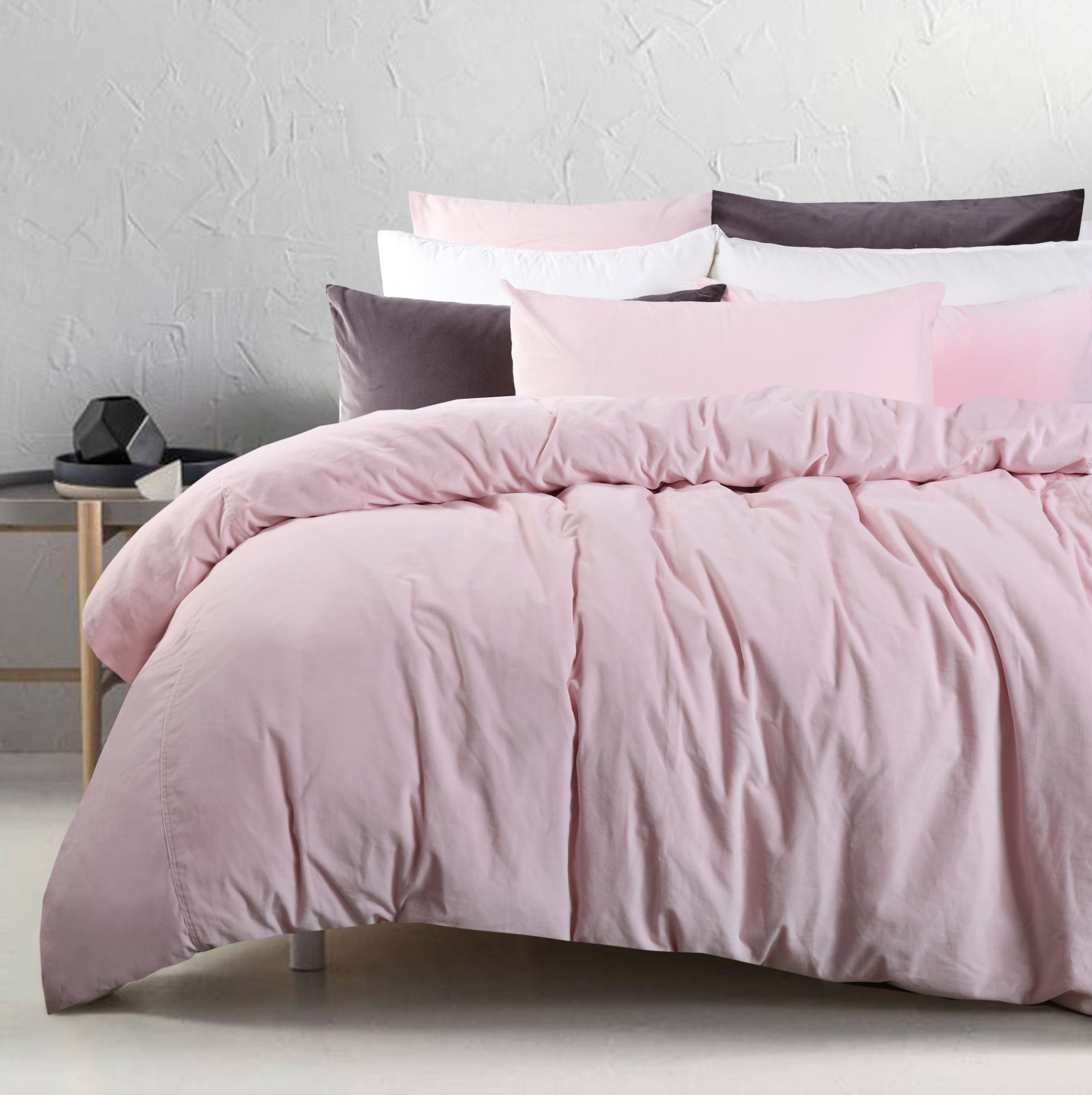Blush Pink Quilt Cover Blush Cotton Velvet Quilt Cover Set