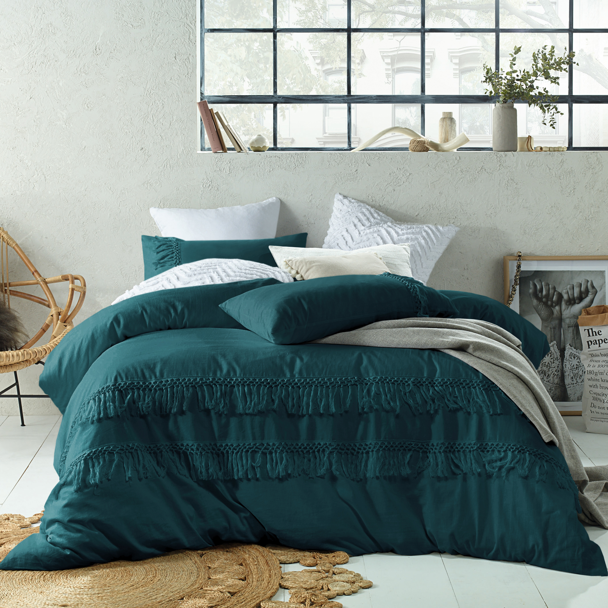 Boho Quilt Covers Australia Details About New Jade Boho Tassel Linen Cotton Quilt Cover Set Accessorize Quilt Covers