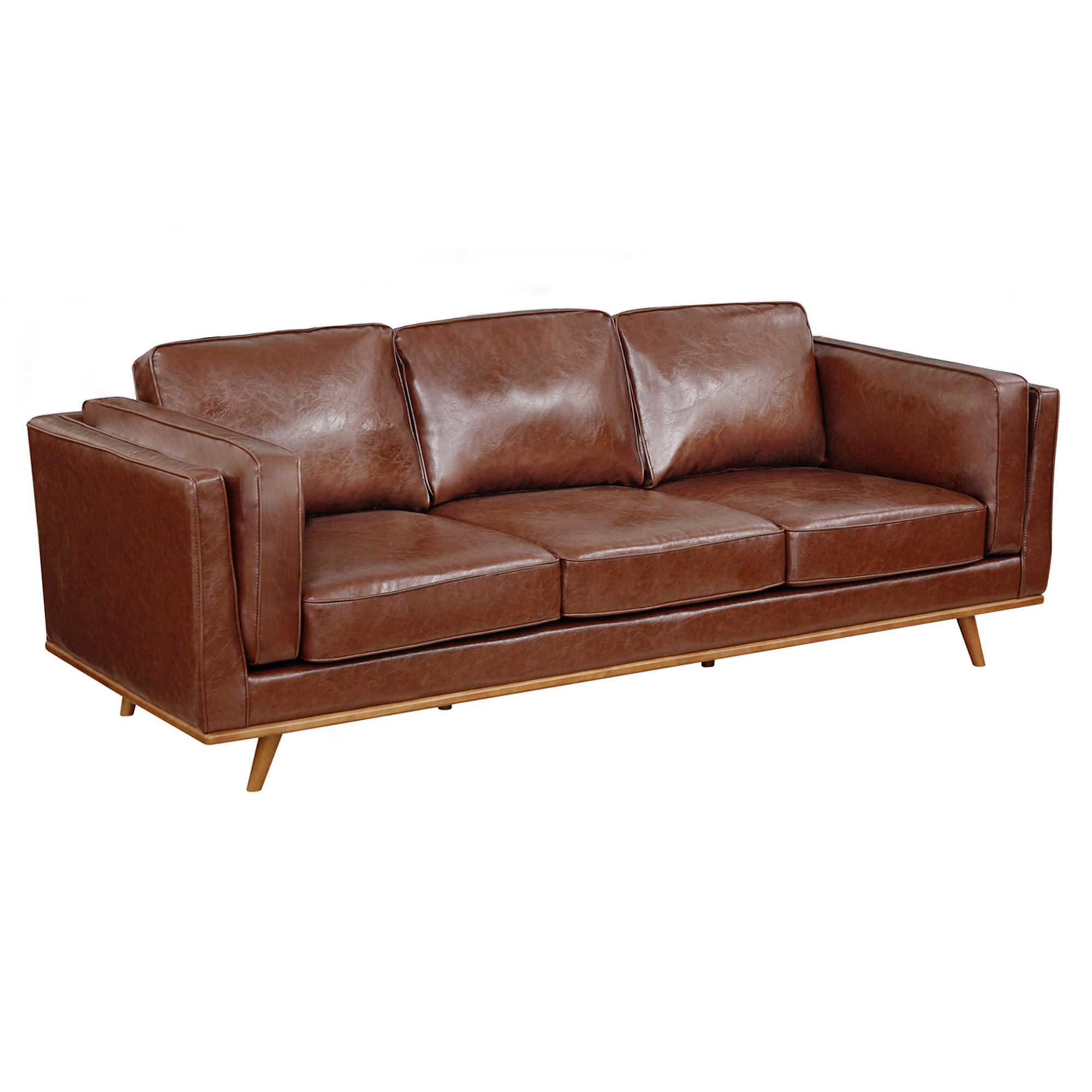 Southern Stylers Brown Brooklyn Faux Leather 3 Seater Sofa Temple Webster