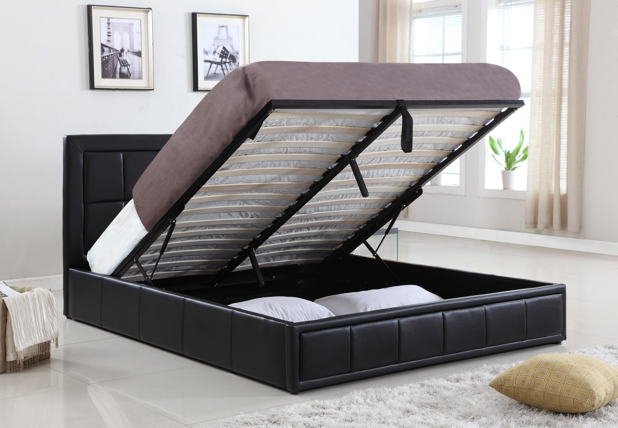 Gas Lift Queen Beds New Pu Leather Queen Size Gas Lift Storage Bed Ebay