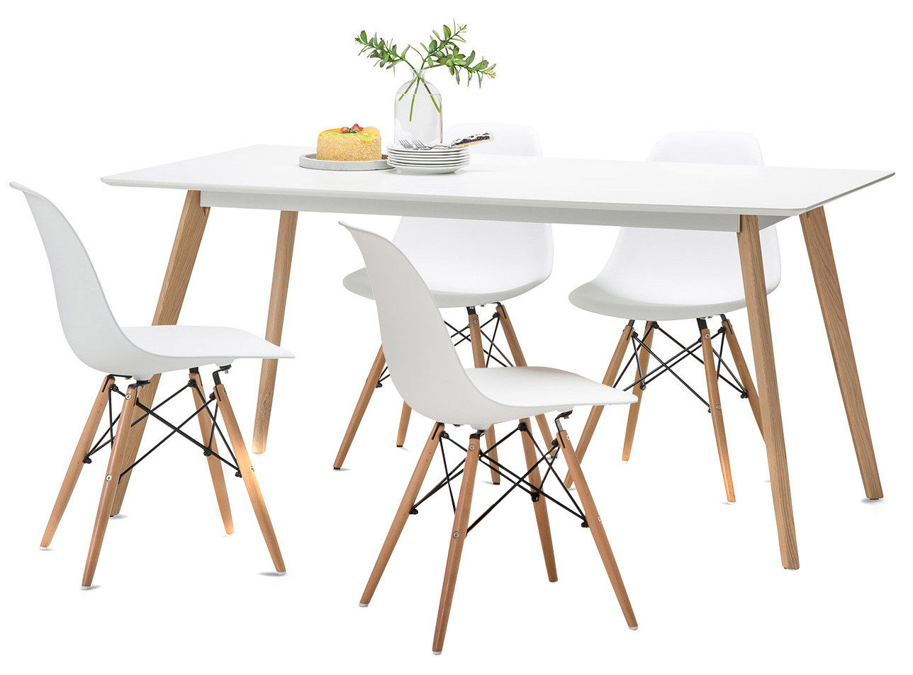 Ordinaire White Scandi Dining Table Set With 4 White Replica Eames Chairs