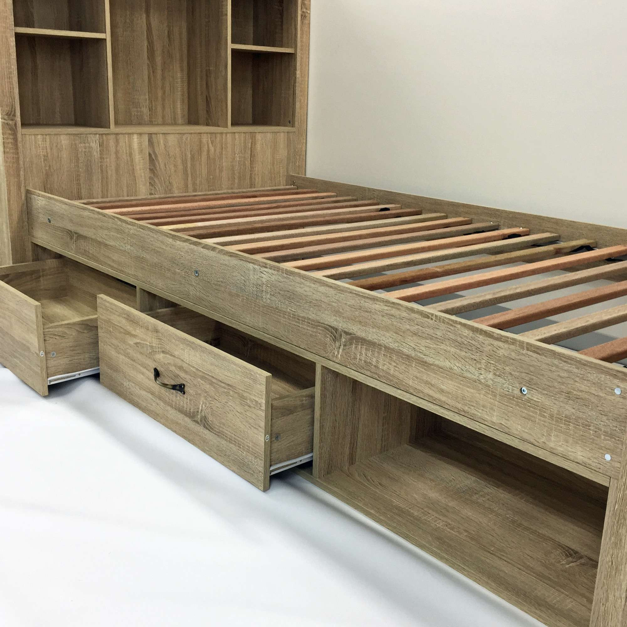 King Single Bed With Drawers Details About New Jeppe Oak King Single Bed With Bookshelves Drawers Vic Furniture Beds