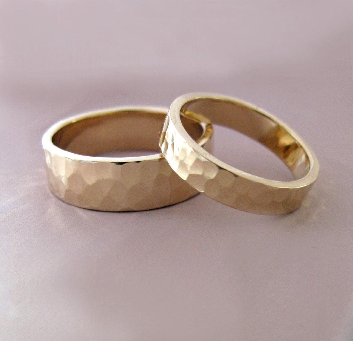 14k gold wedding ring set of two hand 14k gold wedding band zoom
