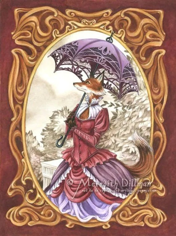 Cute Japanese Cat Wallpaper Fox Art Steampunk Print Victorian Vixen Kitsune 5x7 Limited