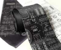 Rocket Science men's necktie. Apollo cockpit silkscreened