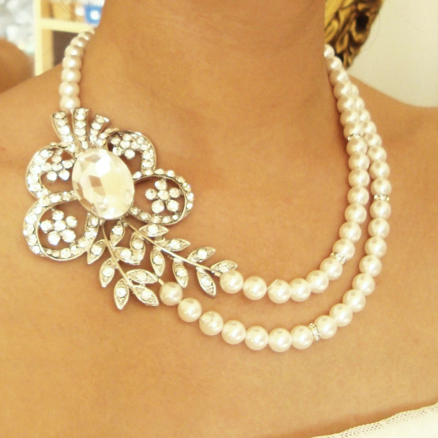 pearl bridal necklace vintage wedding wedding jewelry zoom