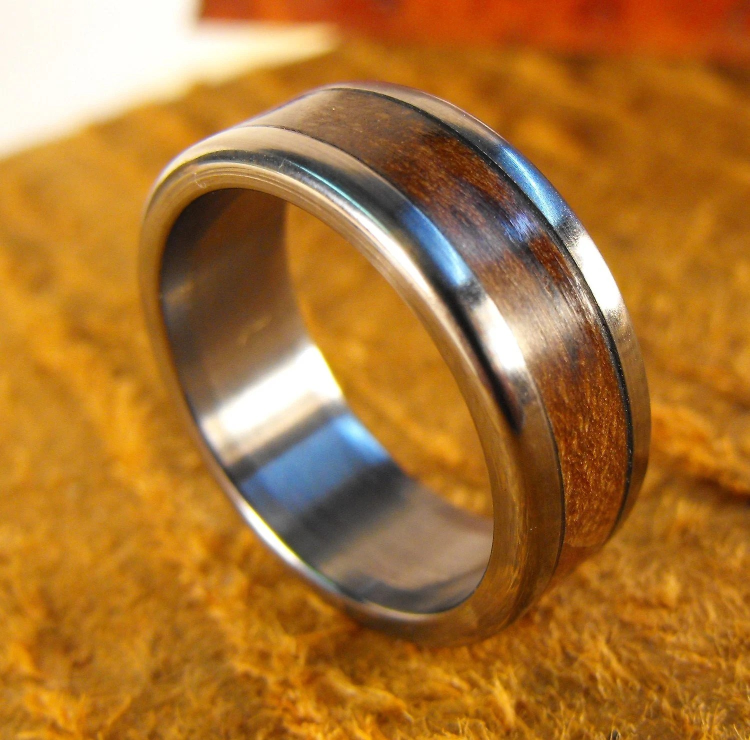 titanium ring wedding ring wood ring mens wedding rings wood zoom