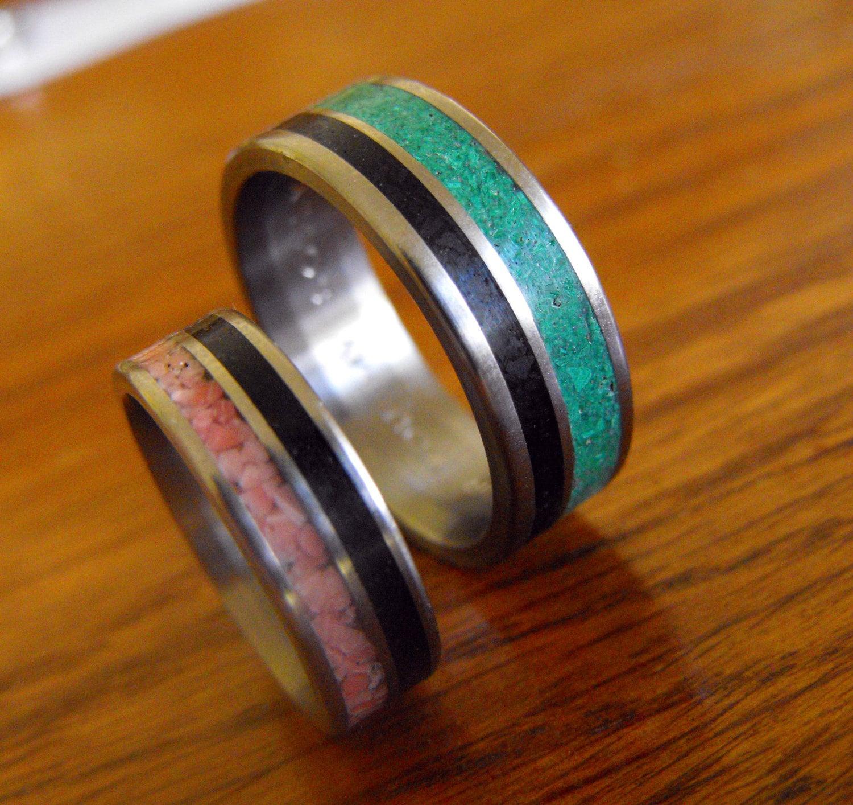 titanium rings wedding rings malachite labradorite wedding ring zoom