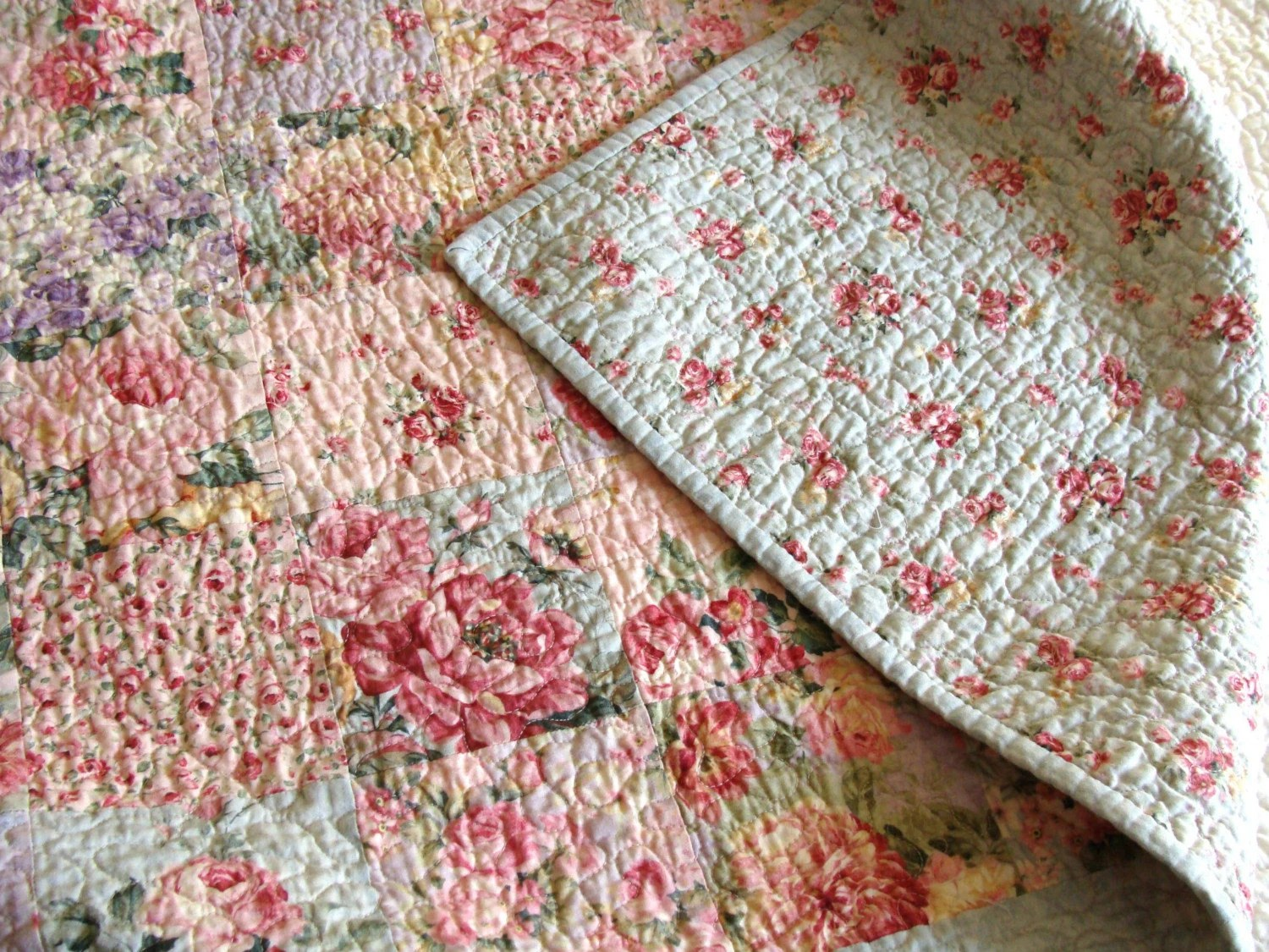 Baby Quilts Handmade English Cottage Rose Garden Patchwork Quilt By Carlenewestberg