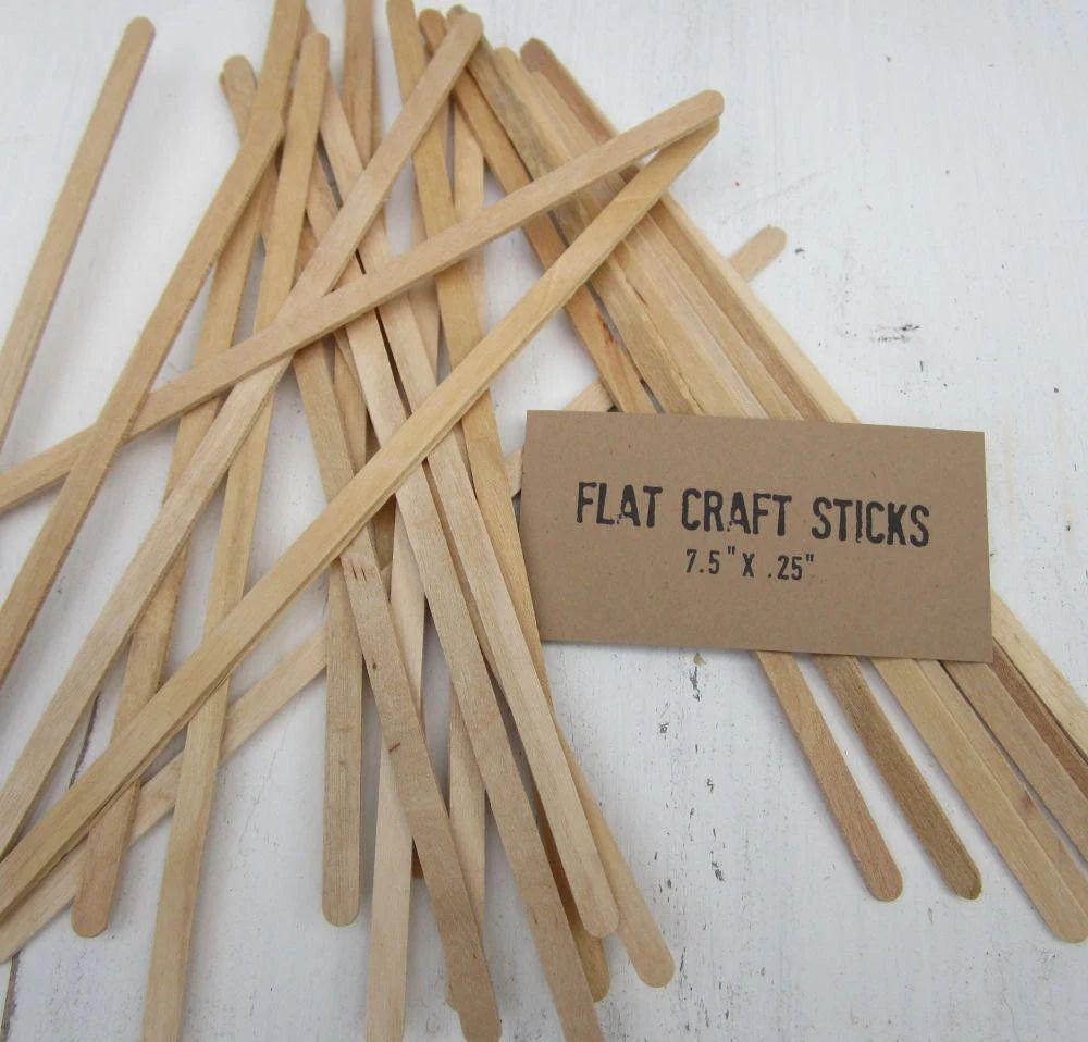 100 slim craft sticks natural wood sticks flat dowels 7 5 inches long wooden sign holders craft wood sticks craft supplies