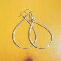 Large silver teardrop earrings big silver teardrop hoops