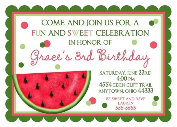 Watermelon Invitations, Birthday Invitations, Summer, Fruit - birthday invitation note