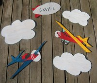 AIRPLANE Wood Wall Art Hand Painted Wood by BirchTreeKids ...
