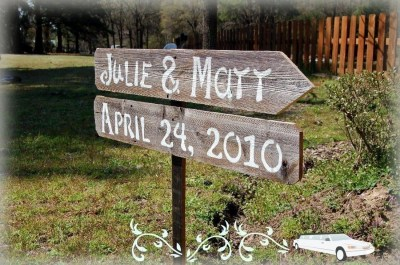 DIY Wood Wedding Signs 2 Directional With1 Stake. Reclaimed