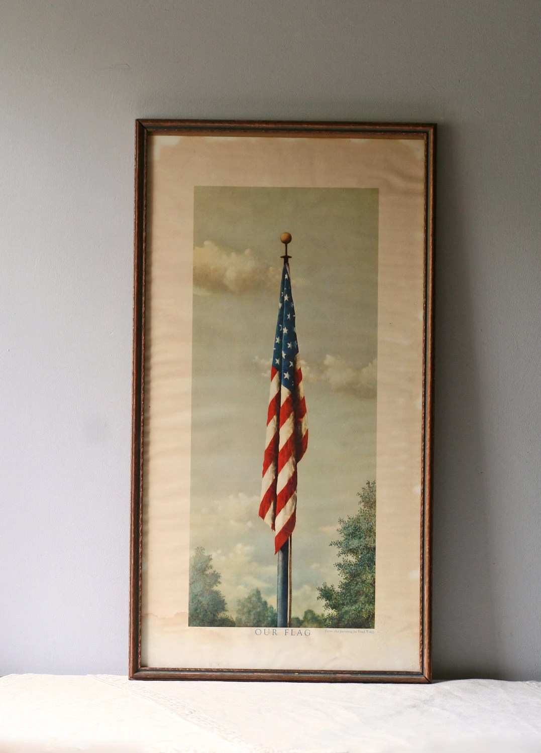 Wall Mirror No Frame Vintage Litho Of American Flag Framed By Modishvintage On Etsy
