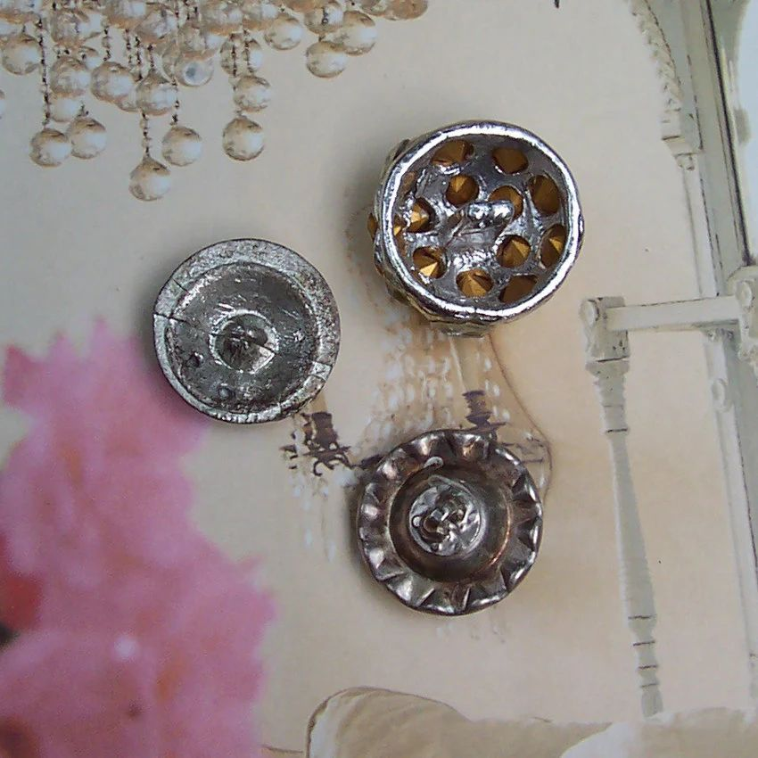 Vintage rhinestone buttons 1940s lot of 3