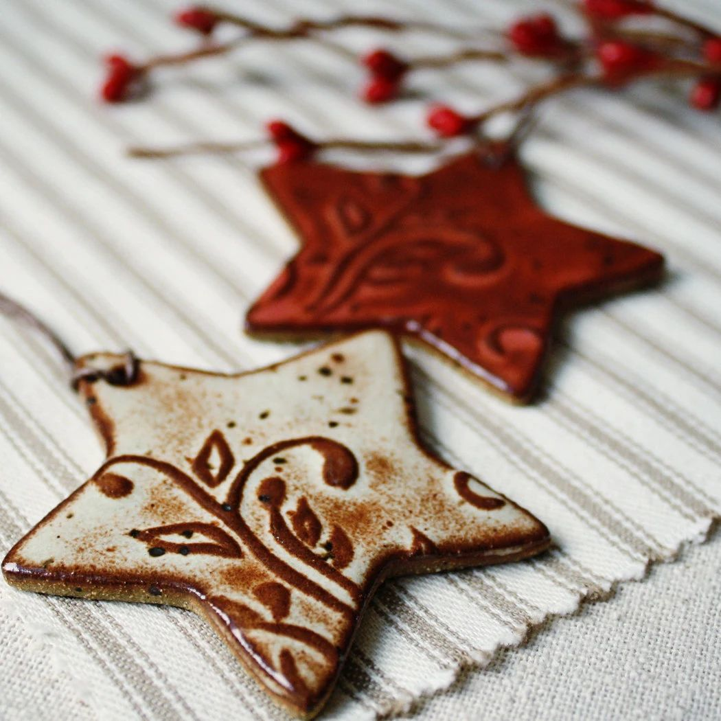 handmade ceramic christmas ornaments eco stars zoom