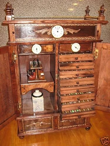 Antique Style Pipe Rack Cigar Humidor Cabinet 500a