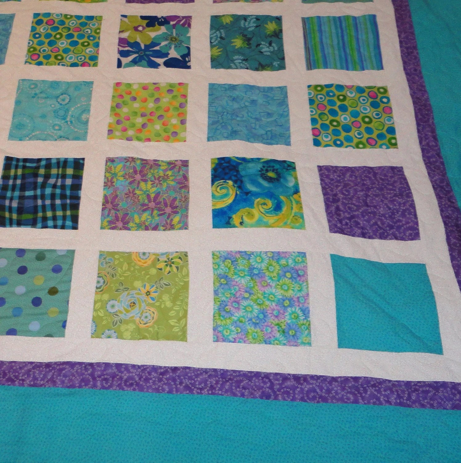 King Quilt Size King Size Turquoise Green And Purple Quilt