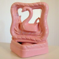 Beauceware Pink Swan Art Pottery Planter Eames Era TV Lamp