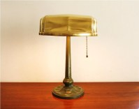 Vintage library or office lamp with a brass shade