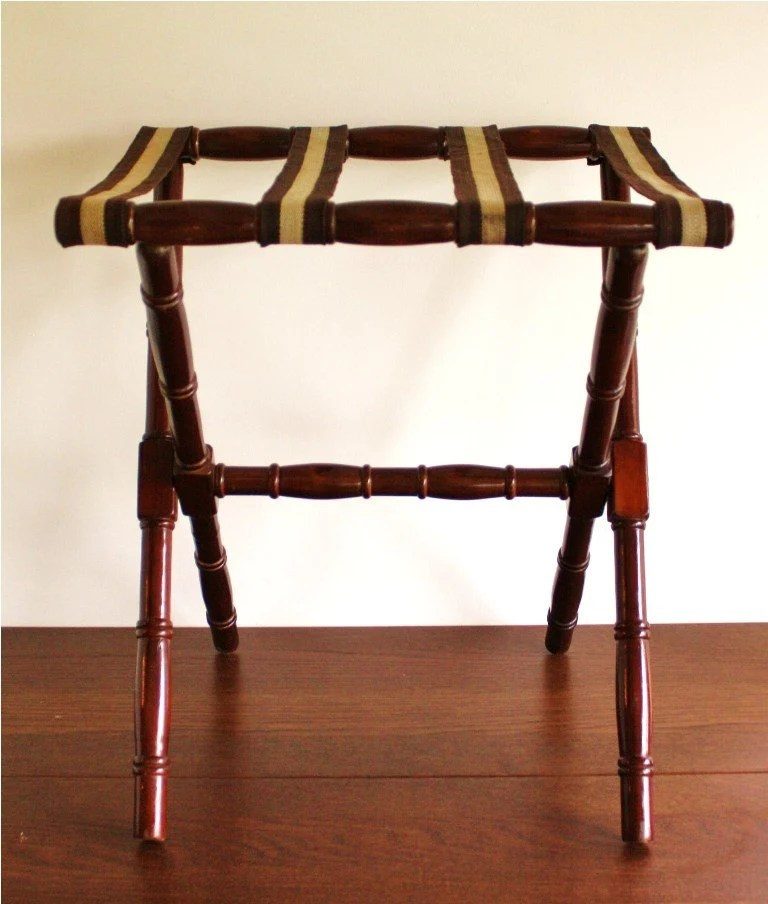 Vintage Faux Bamboo Wooden Luggage Rack Fold Out Stand