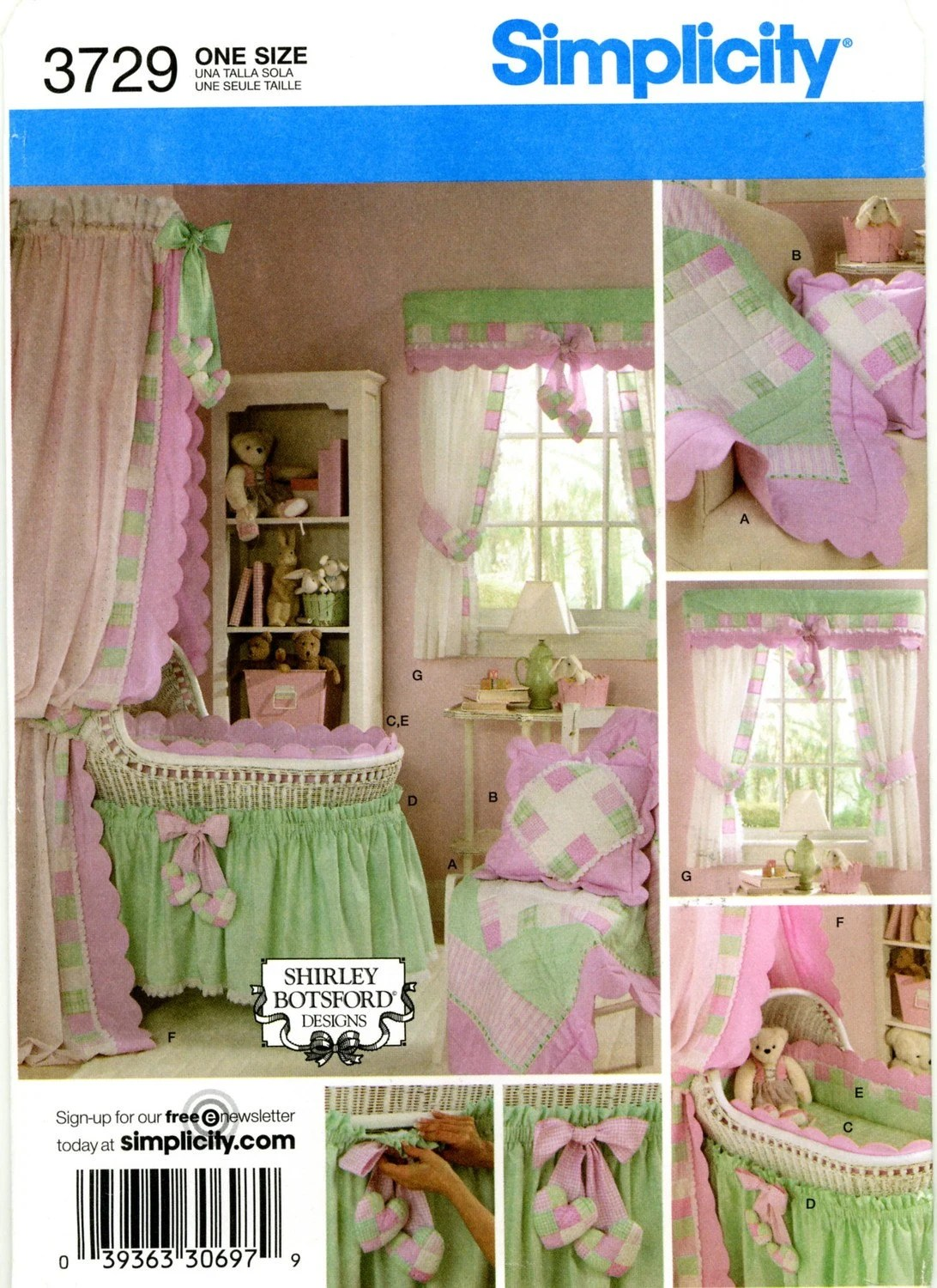 Baby Bassinet Valance Simplicity 3729 Baby Nursery Hearts Quilt Pillow Bassinet