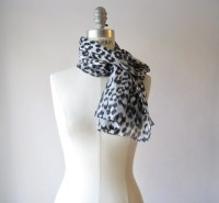 black and white LEOPARD PRINT scarf