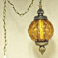 Vintage hanging light hanging lamp amber globe chain