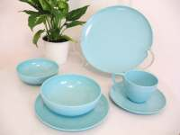 50s AQUA BLUE 36pc Vintage PLASTIC DINNERWARE DISH by ...