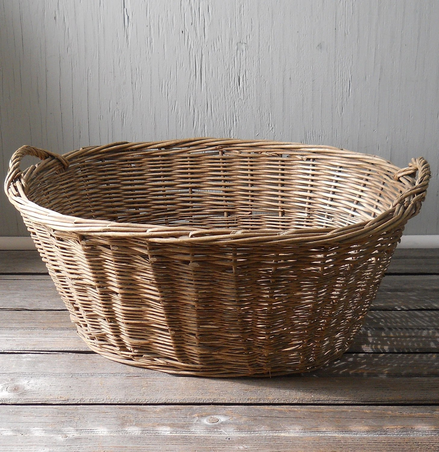 Wicker Laundry Baskets Vintage Wicker Laundry Basket Large Oval No 1