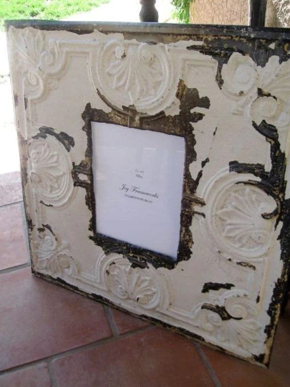 24x24 Frame Huge Antique Ceiling Tin Tile 8x10 Picture Frame By