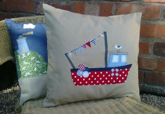Handmade Fishing Boat And Seagull Cushion Cover In Natural