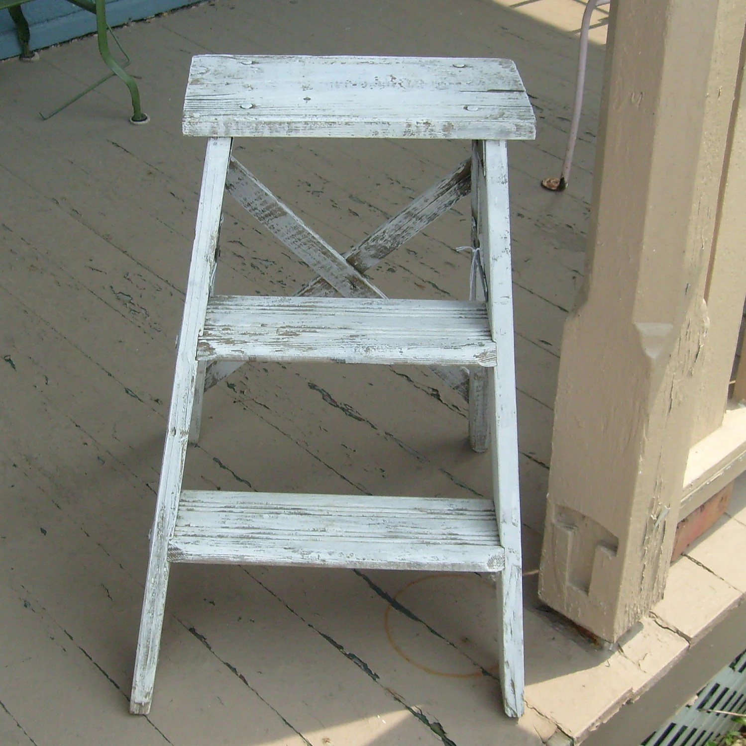 Vintage Chippy White Wood Step Ladder