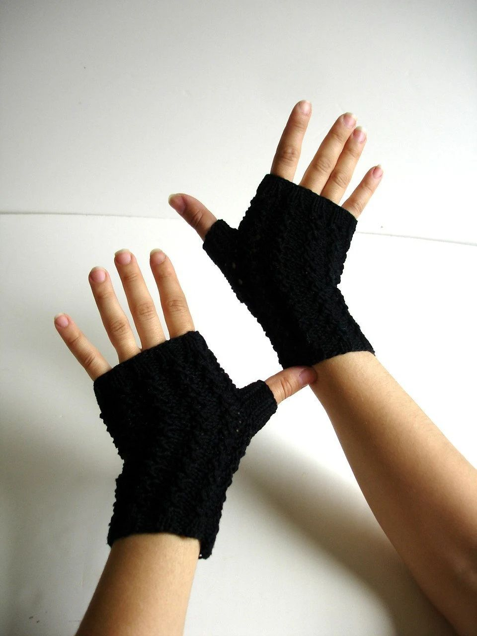 Off black cotton texting fingerless gloves hand knit