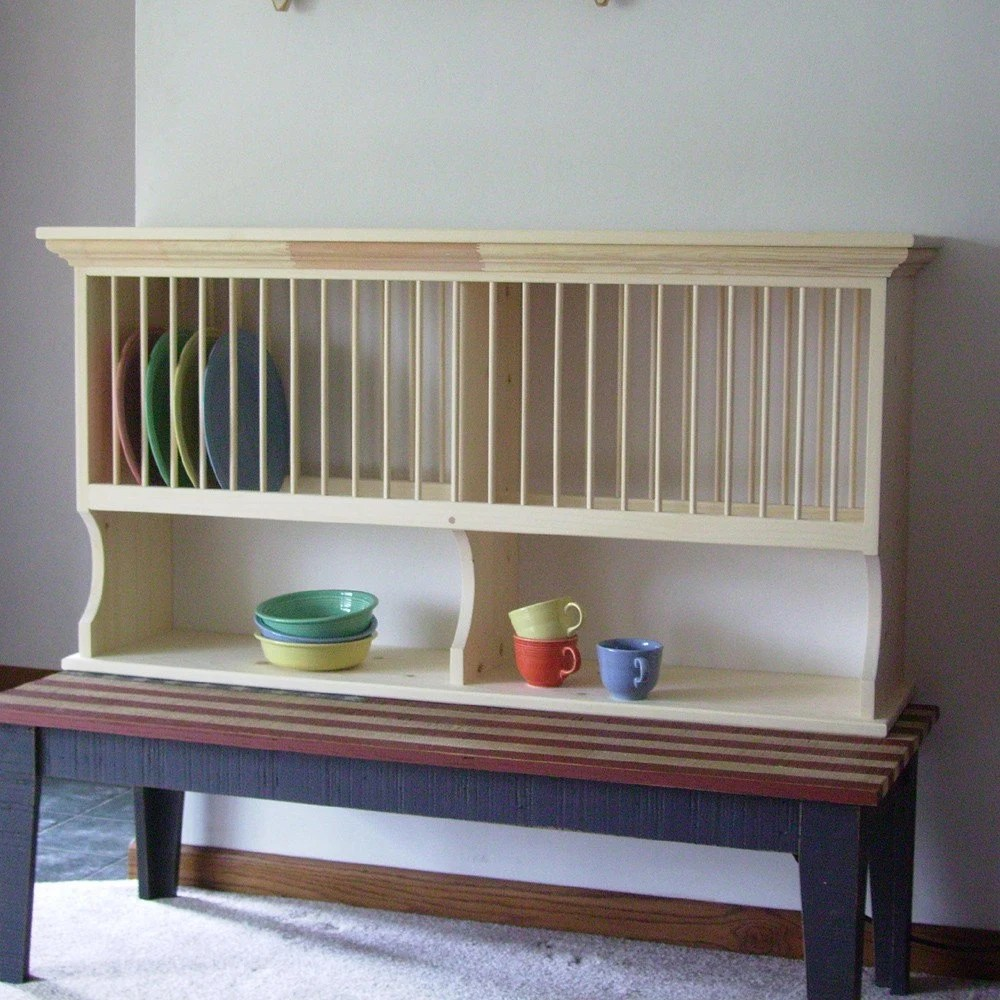 4 Foot Kitchen Wood Plate Rack 24 Plate Holder And Shelf Wall