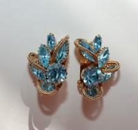 Vintage Carnegie Blue Topaz Clip on Earrings