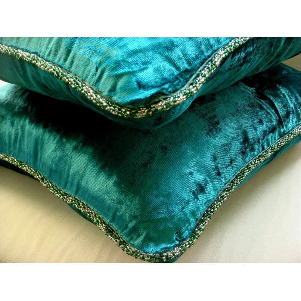 Decorative Throw Pillow Covers 16x16 Inch Peacock Green Velvet