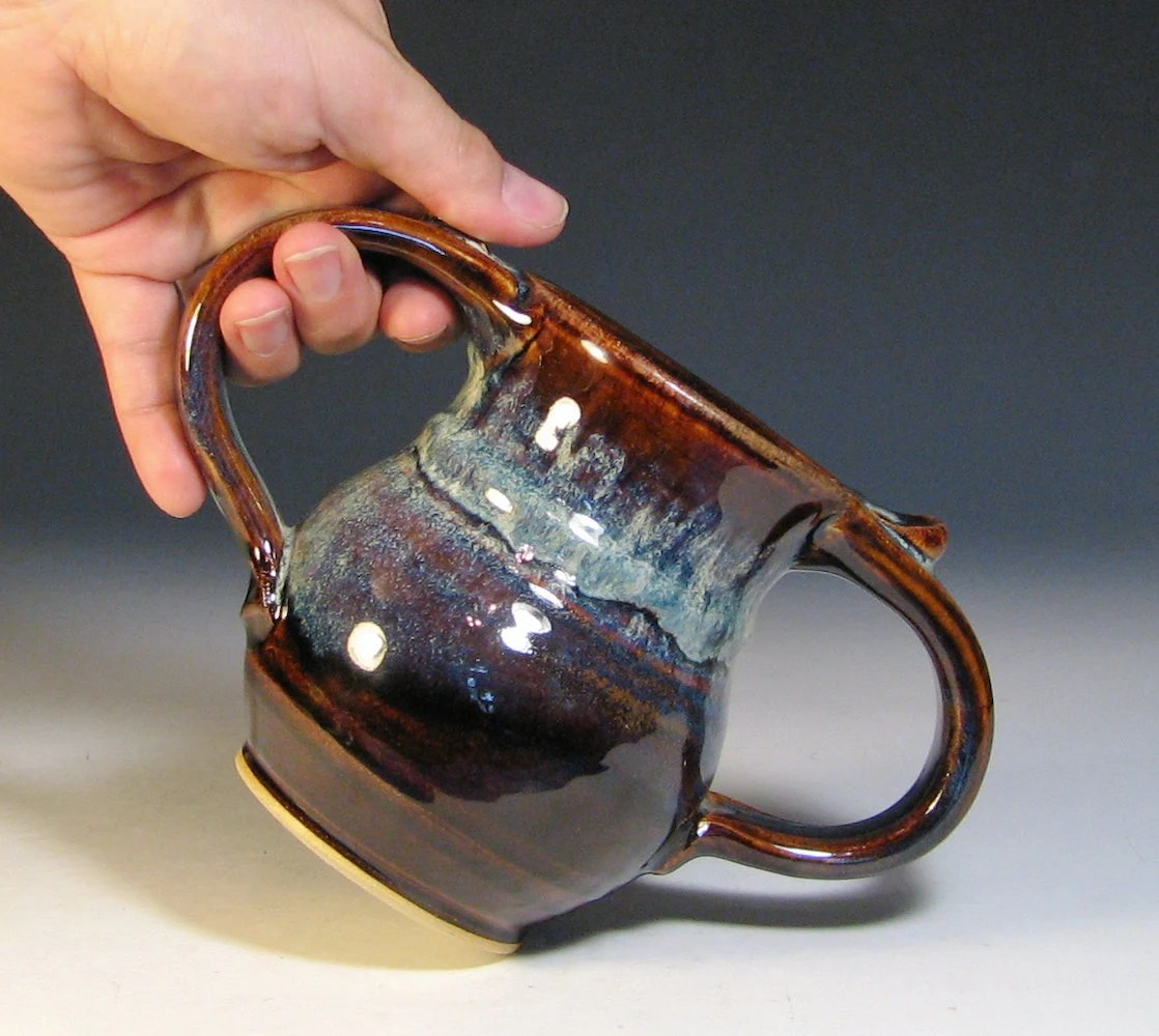 Double Handled Coffee Mugs Coffee Mug Ceramic Double Handle Kid Cup Glazed In Caramel
