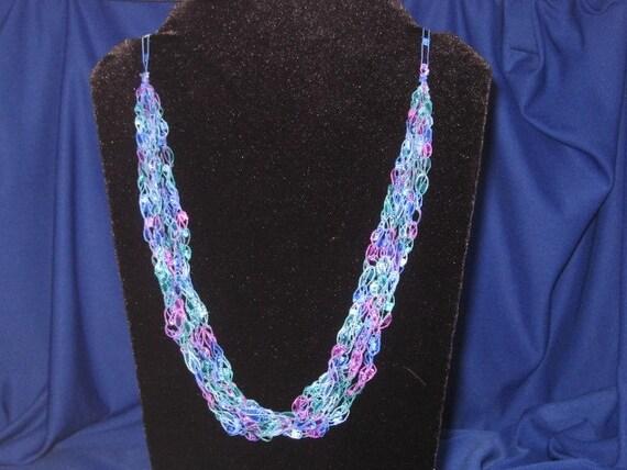 Crochet Trellis Ladder Railroad Ribbon Yarn Necklace Deep