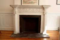 Vintage Faux Fireplace and Mantle Off-White