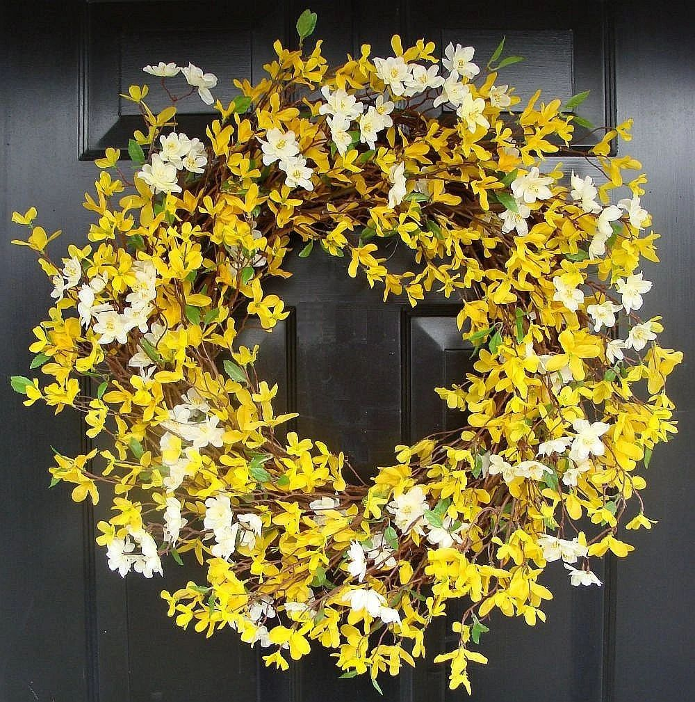 Cherry blossom and forsythia wreath yellow wreath by