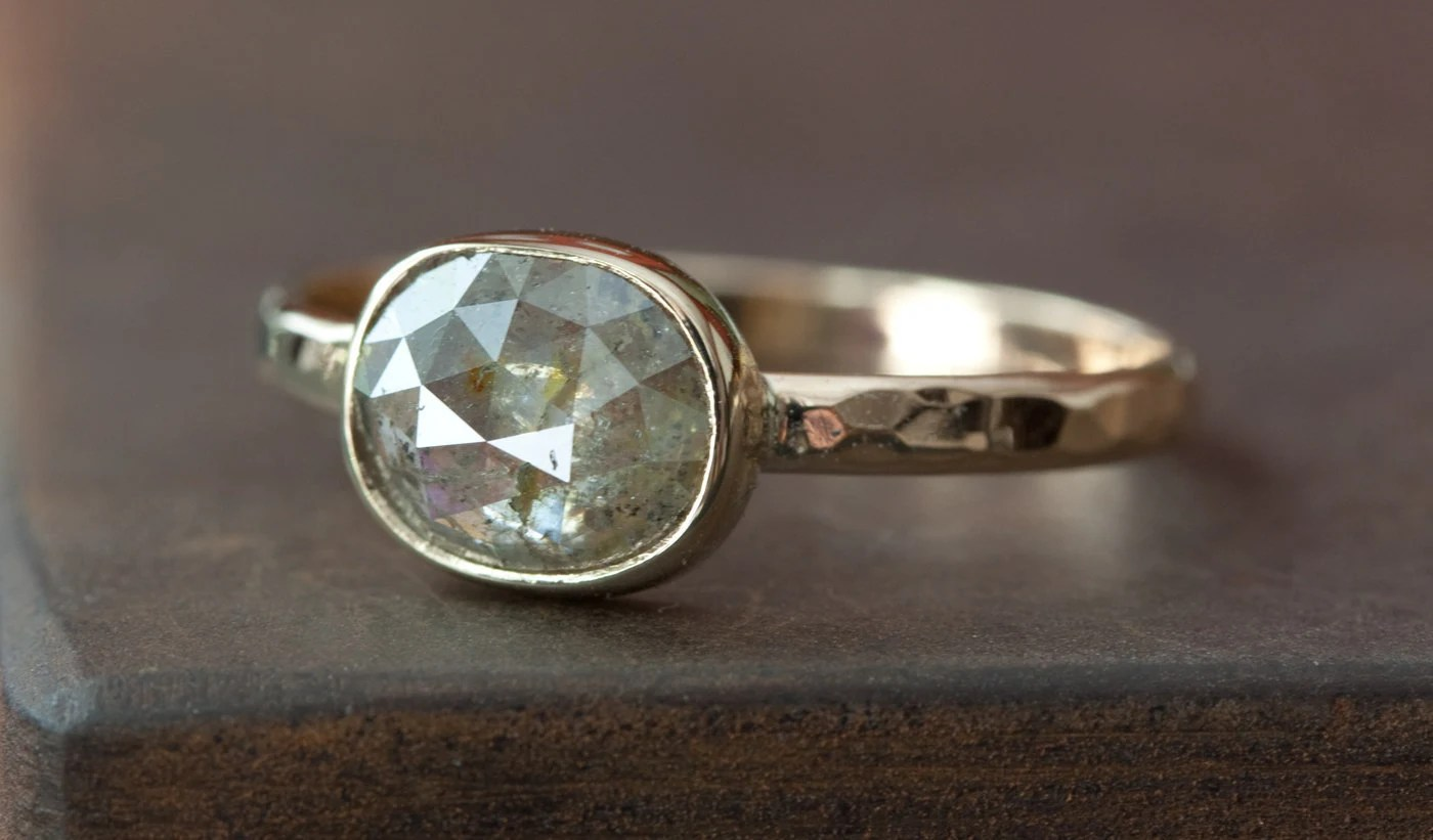 grey green diamond in 14kt yellow gold non traditional wedding rings zoom