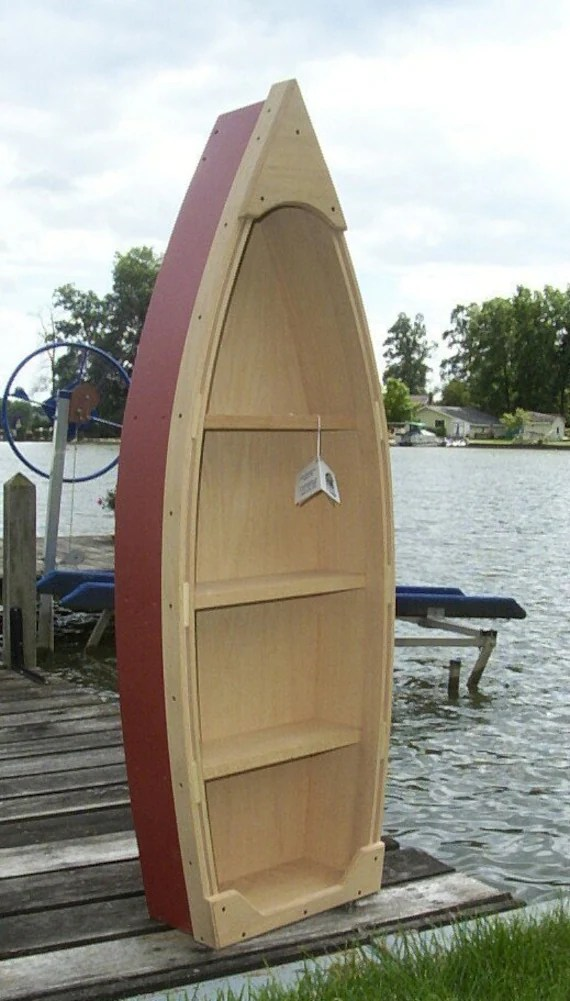 Handcrafted 4 Foot Wood Row Boat Bookcase Shelf Shelves Canoe