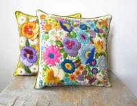 Best Etsy Pillow Shops. Sale Vintage Crewel Embroidery ...